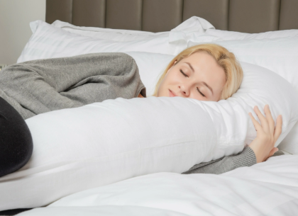 Pregnant Woman Sleeping with Queen Rose U-Shaped Full Body Pillow