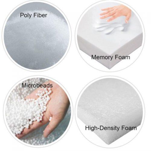 Poly Fiber, Memory Foam, Microbeads, High-Density Foam